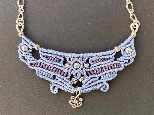Blue micromacrame necklace