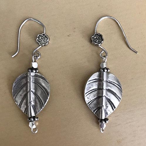 Thai Silver Leaf Drop Earrings