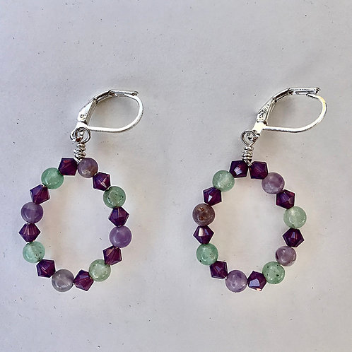 Fluorite and Crystal Oval Hoops