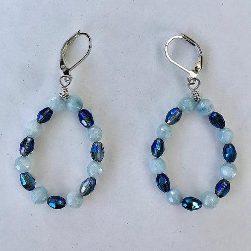 Aquamarine and Crystal Oval Hoops