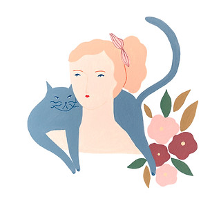 Cat and lady gouache illustration