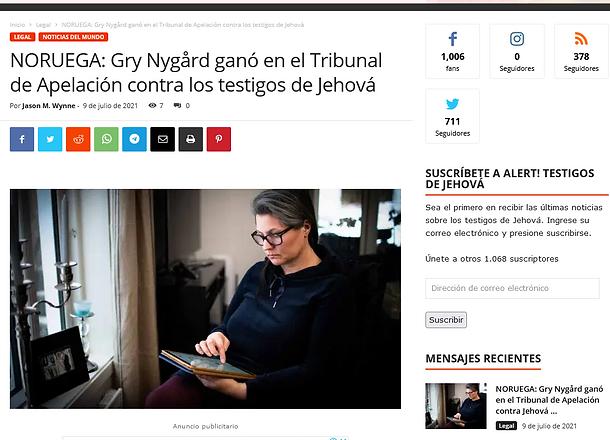 NORUEGA_ Gry Nygård ganó en el Tribunal de Apelación contra los testigos de Jehová - ¡ALER