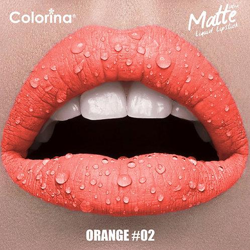 COLORINA MATTE LIPGLOSS ORANGE #02