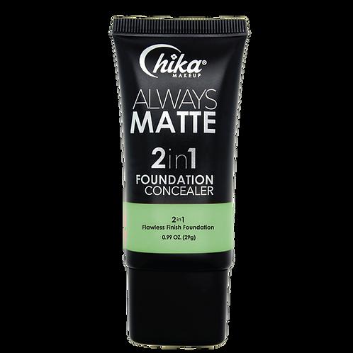 CHIKA ALWAYS MATTE 2 IN1 FOUNDATION TEAL #03