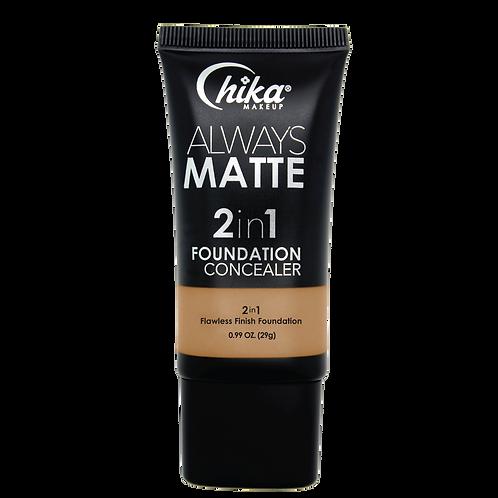 CHIKA ALWAYS MATTE 2 IN1 FOUNDATION DARK BEIGE #12