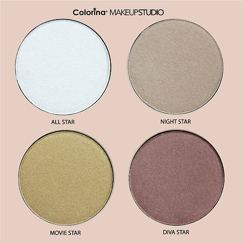 COLORINA HI-GLOW HIGHLIGHTER POWDER PALETTE STAR-LIGHT D