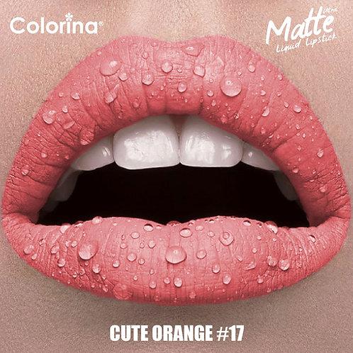 COLORINA MATTE LIPGLOSS CUTE ORANGE  #17