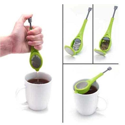 Tea Infuser With Built-In Leaf Depressor for Loose Leaf or Tea Bags
