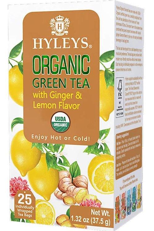 Hyleys Organic Ginger and Lemon Flavor Green Tea - 25 Tea Bags