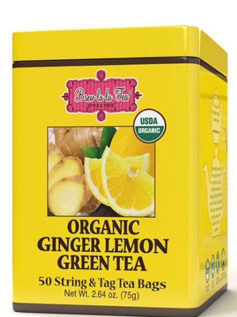Brew La La Organic Ginger Lemon Green Tea - 50 Tea Bags