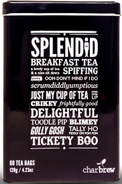 Charbrew Splendid Tin English Breakfast Tea - 60 Tea Bags