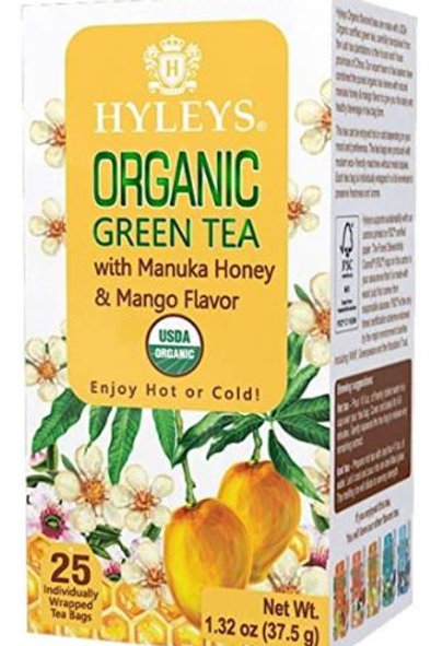 Hyleys Organic Green Tea with Manuka Honey & Mango Flavor - 25 Tea Bags