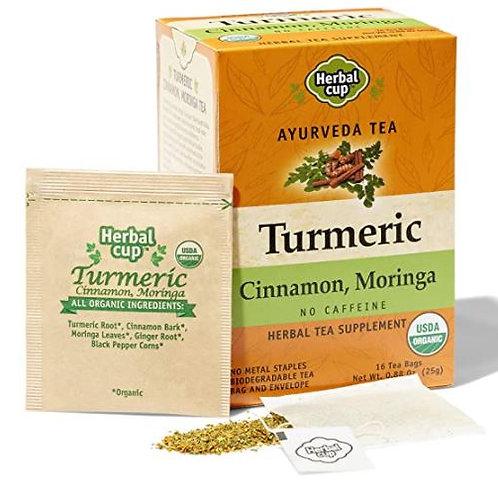 Herbal Cup Turmeric Cinnamon Moringa Herbal Tea - 16 Tea Bags