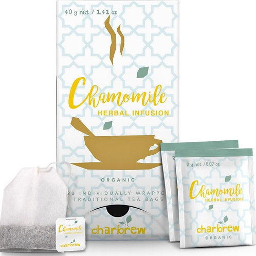 Charbrew Organic Chamomile Herbal Tea - 20 Tea Bags