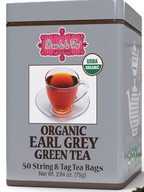Brew La La Organic Earl Grey Green Tea - 50 Tea Bags
