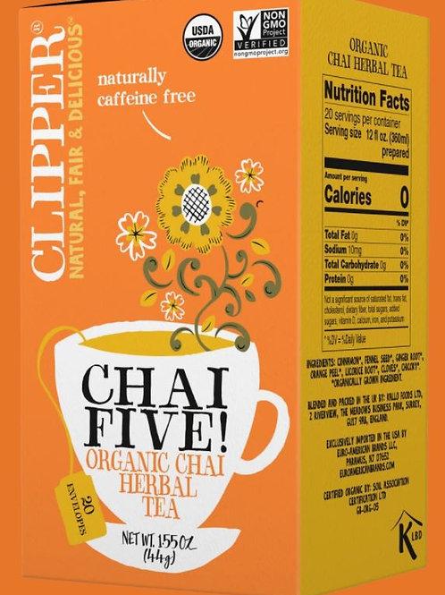 Clipper Organic Chai Five Herbal Tea - 20 Tea Envelopes