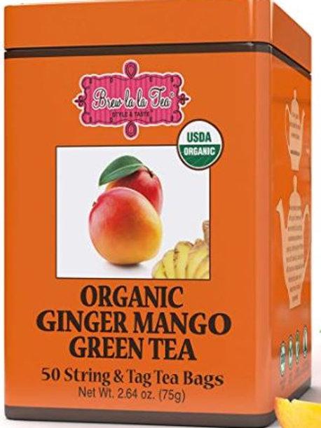 Brew La La Organic Ginger Mango Green Tea - 50 Tea Bags