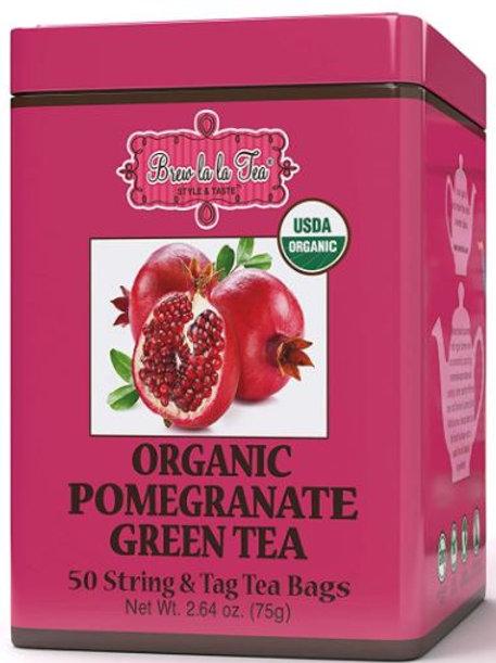 Brew La La Organic Pomegranate Green Tea - 50 Tea Bags
