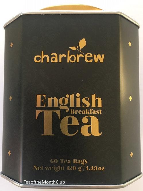 Charbrew English Breakfast Tea in a Tin - 60 Tea Bags