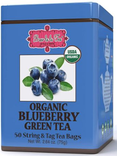 Brew La La Organic Blueberry Green Tea - 50 Tea Bags