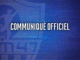 Communiqué Officiel - Information importante relative à la vie du club