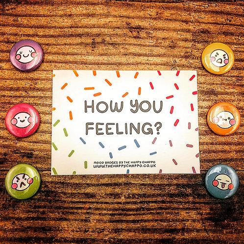Set of 6 handmade emotions badges