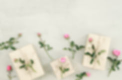 Pink rose flowers, gift box or present o