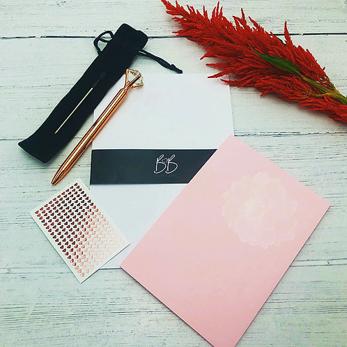 BlissBox Writing Set with a Rose Gold pen and heart stickers