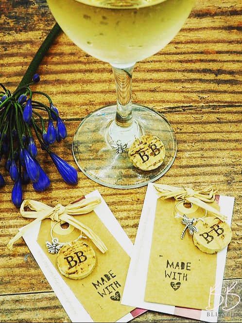 Handmade silver plated Summer Insect and cork wine glass charm