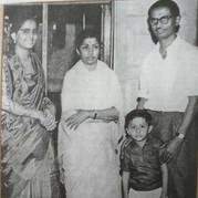 With Lata Mangeshkar and parents
