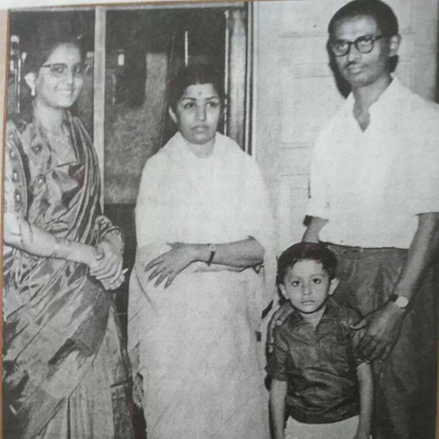 With Lata Mangeshkar and parents