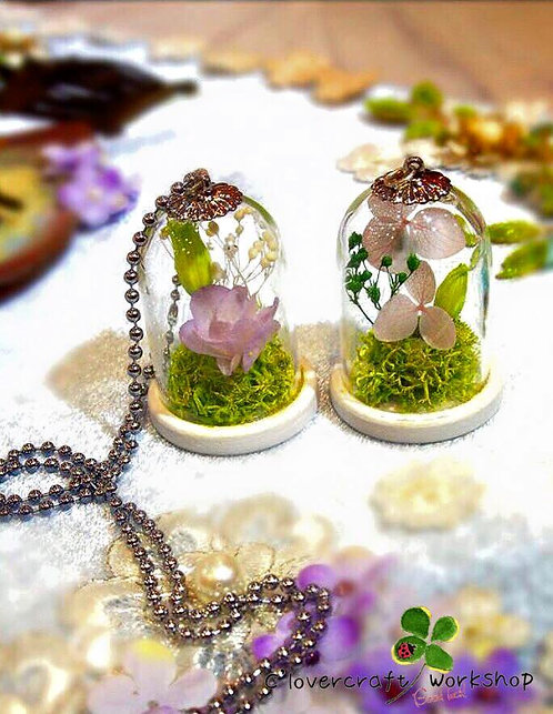 Preserved Flower 保鮮花系列~玻璃吊咀頸鍊班-A(其他繡球花款式)