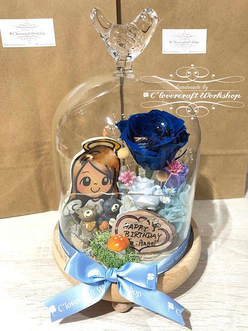 藍色系列-鳥頂玻璃瓶(有燈)