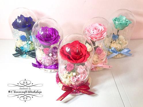 Preserved flower保鮮花系列-厄瓜多爾玫瑰圓玻璃瓶(大)