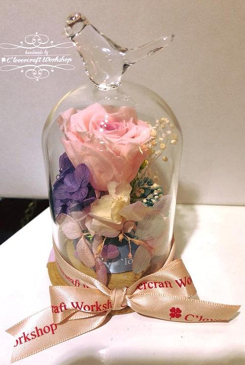 玫瑰花鳥頂玻璃瓶
