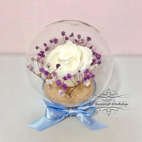 白色情人節作品(B) - 保鮮花玻璃球夜光白玫瑰款