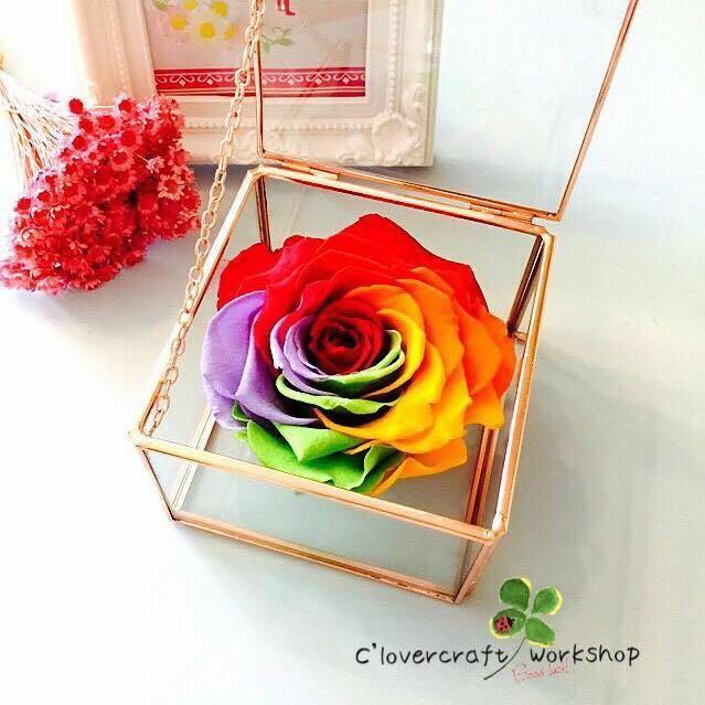 彩虹花玫瑰金玻璃盒作品-PF025