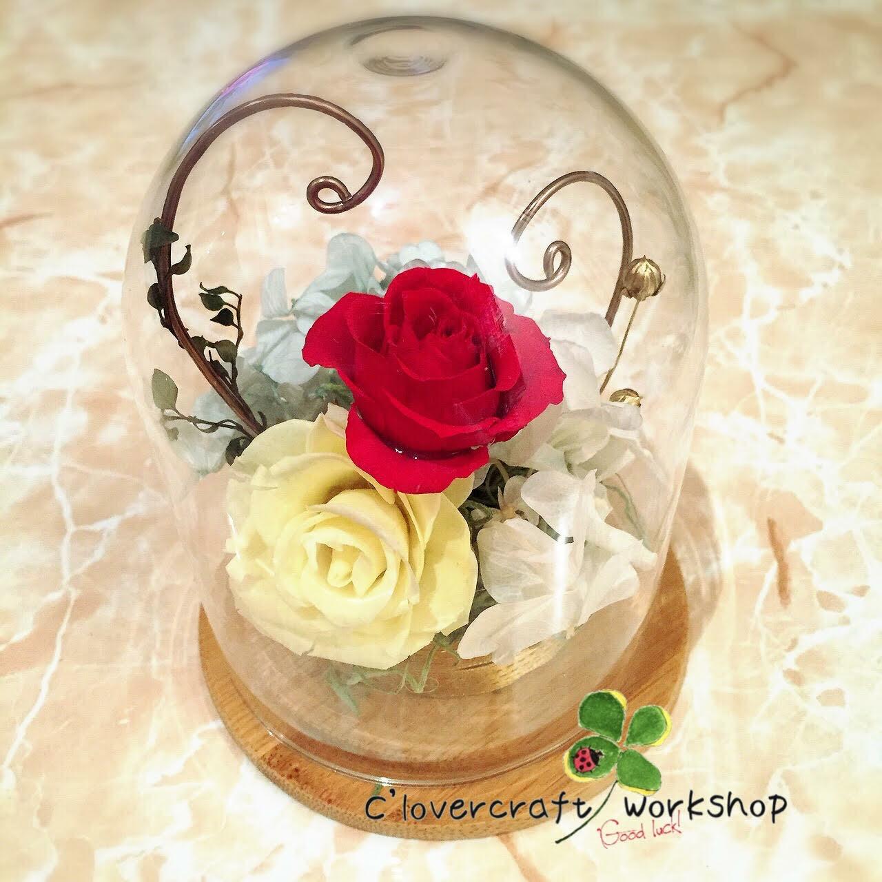 圓型頂玻璃瓶戒指座作品-PF033