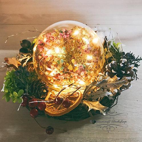 本保鮮花Preserved flower 聖誕花環水晶球燈
