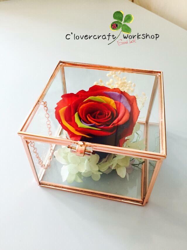彩虹花玫瑰金玻璃盒-PF025