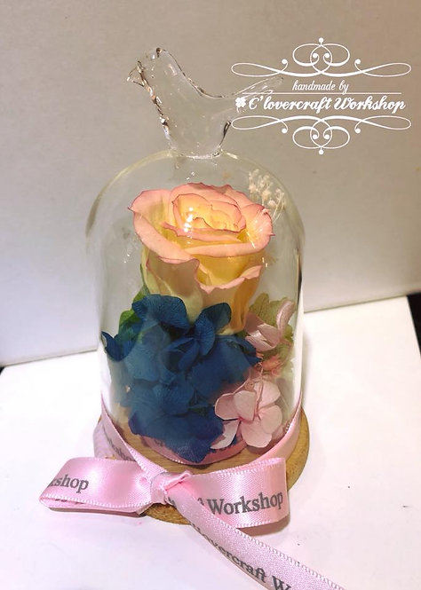 保鮮花鳥頂玻璃瓶(小)