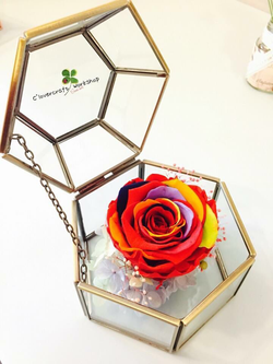 七彩玫瑰六角玻璃首飾盒作品-PF114