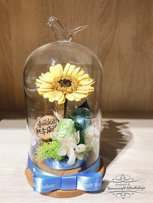 Preserved Flower - 保鮮花系列小鳥頂玻璃瓶作品PF046