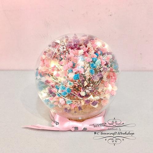 白色情人節作品(A) - 保鮮花玻璃球滿天星款(8cm直徑)