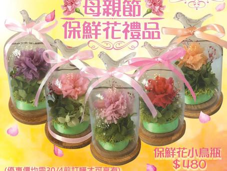 母親節保鮮花禮品:保鮮花小鳥瓶