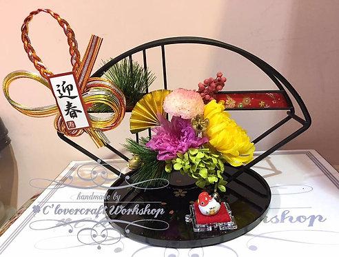 保鮮花新春和扇擺飾