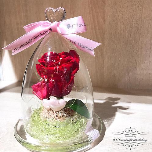 Preserved Flower 保鮮花系列 - 紅色玫瑰心型頂玻璃瓶