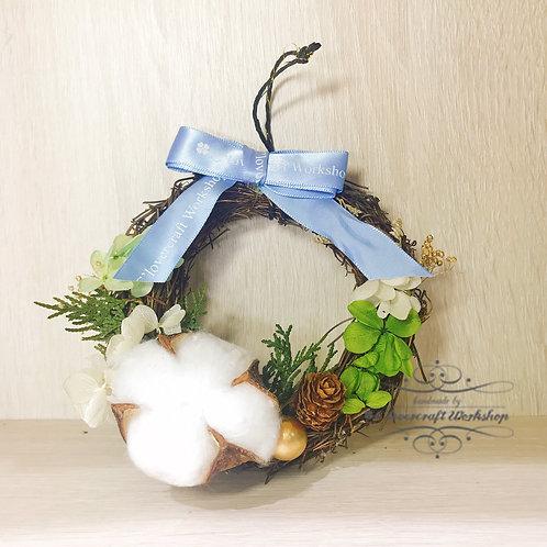 日本保鮮花Preserved flower 聖誕棉花小花環
