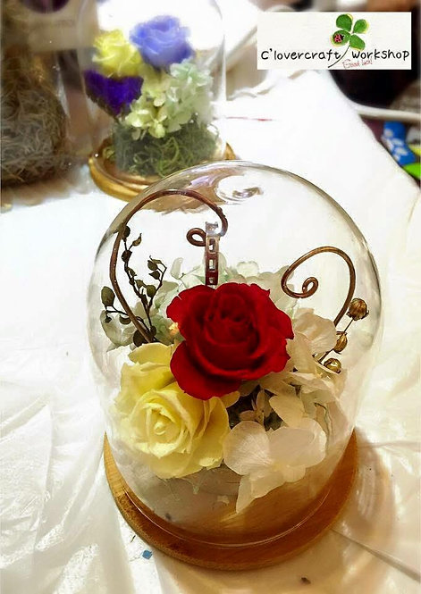 Preserved Flower 保鮮花系列~圓型玻璃瓶戒指座班