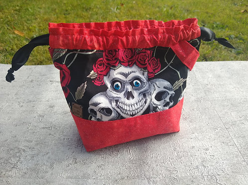 Halloween Project Bag (Black and red)